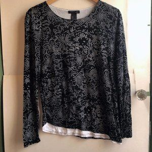 5/$25 KENNETH COLE Black Floral Long Sleeve Blouse